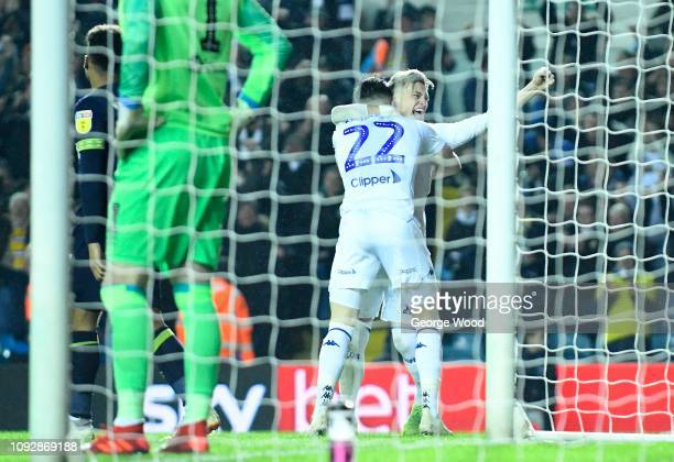 Jack Harrison celebrates with Jack Clarke of Leeds United after scoring the second goal during the Sky Bet Championship match between Leeds United...