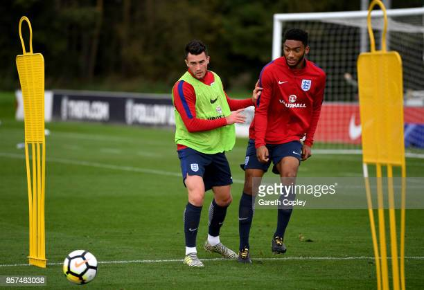 Jack Harrison of England and Joe Gomesz of England train during a England U21 Training Session at St Georges Park on October 4 2017 in...