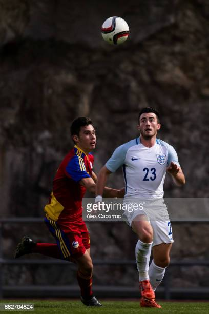 Jack Harrison of England battles for the ball with Eric De Pablos of Andorra during the UEFA European Under 21 Championship Group 4 Qualifier between...