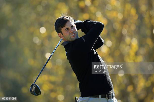 Jack Harrison of England in action during the fourth round of the European Tour qualifying school final stage at PGA Catalunya Resort on November 15...