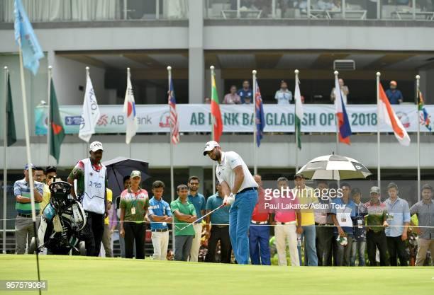 Jack Harrison of England plays a shot during round four of the 2018 AB Bank Bangladesh Open at Kurmitola Golf Club on May 12 2018 in Dhaka Bangladesh