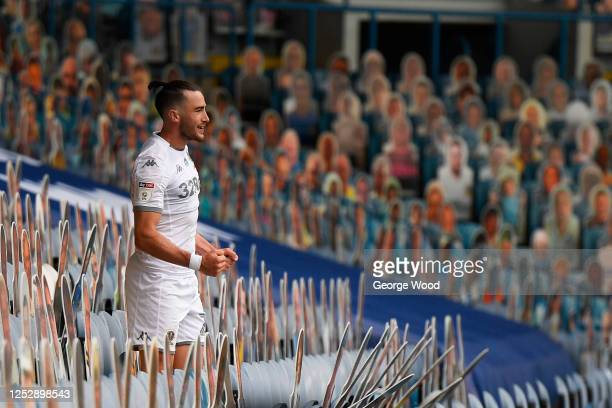 Jack Harrison of Leeds United celebrates after scoring his sides third goal in the stands during the Sky Bet Championship match between Leeds United...