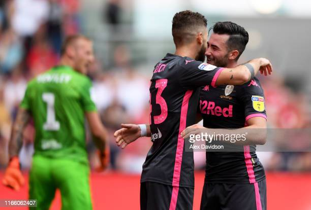 Jack Harrison of Leeds United celebrates his goal with Mateusz Klich of Leeds United during the Sky Bet Championship match between Bristol City and...
