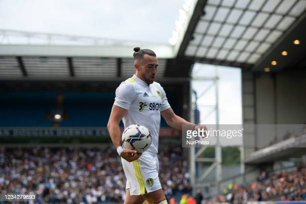 Jack Harrison of Leeds United goes to take a corner during the Pre-season Friendly match between Blackburn Rovers and Leeds United at Ewood Park,...