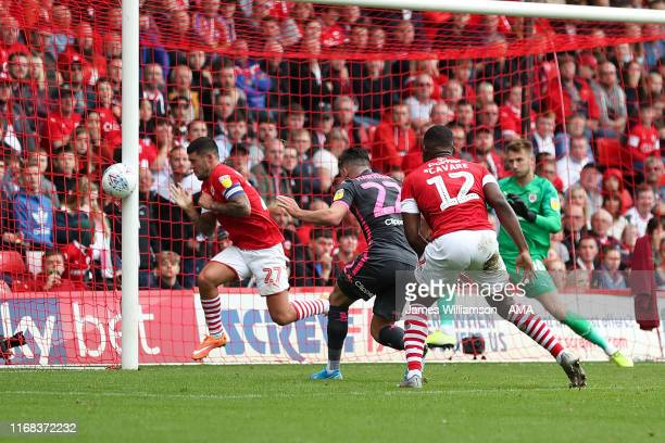 Jack Harrison of Leeds United hits the post with a chance during the Sky Bet Championship match between Barnsley and Leeds United at Oakwell Stadium...