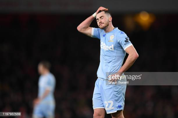 Jack Harrison of Leeds United looks dejected during the FA Cup Third Round match between Arsenal FC and Leeds United at the Emirates Stadium on...