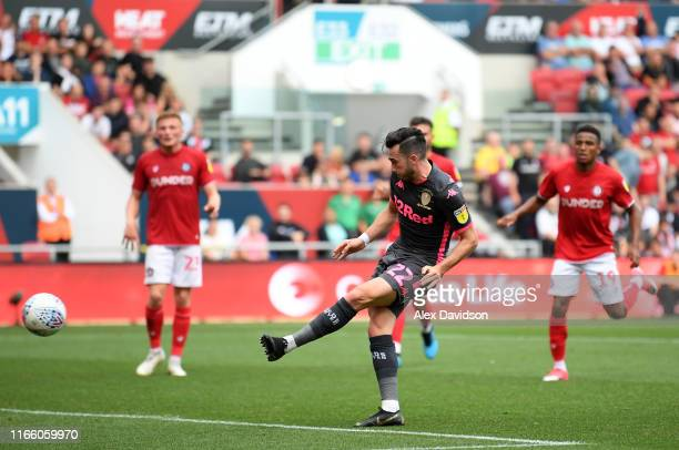 Jack Harrison of Leeds United scores his sides third goal during the Sky Bet Championship match between Bristol City and Leeds United at Ashton Gate...