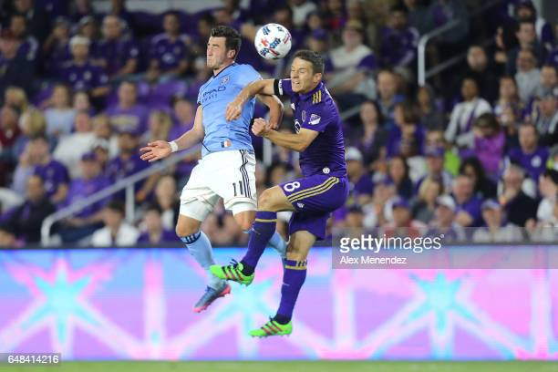 Jack Harrison of New York City FC and Will Johnson of Orlando City SC fight for the ball during a MLS soccer match between New York City FC and...