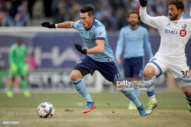 Jack Harrison of New York City FC goes past Hernan Bernardello of Montreal Impact in action during the New York City FC Vs Montreal Impact regular...