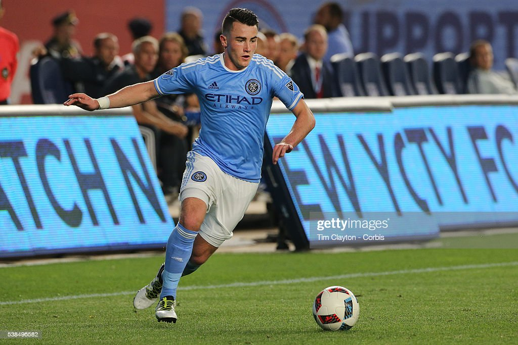 Jack Harrison #11 of New York City FC in action during the NYCFC Vs Real Salt Lake regular season MLS game at Yankee Stadium on June 02, 2016 in New York City.
