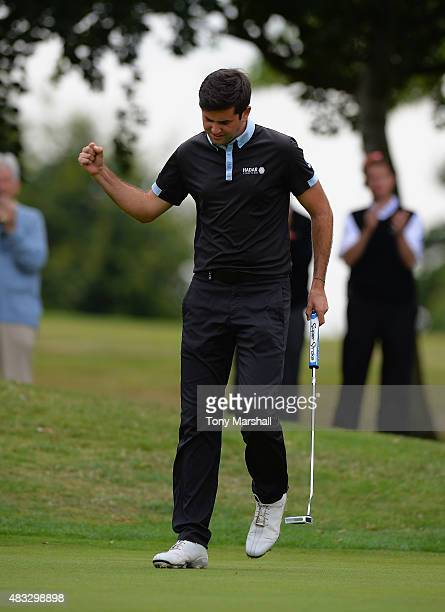 Jack Harrison of Wildwood Golf and Country Club celebrates sinking his putt on the 18th green to win the Galvin Green PGA Assistants' Championship...