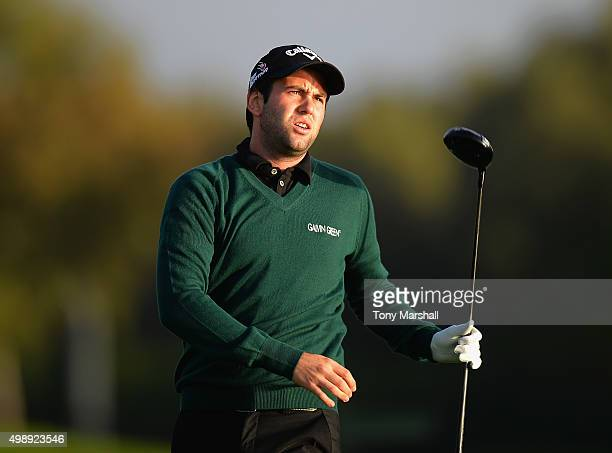 Jack Harrison of Wildwood Golf and Country Club plays his first shot on the 1st tee during the first round of the PGA PlayOffs at the Antalya Golf...