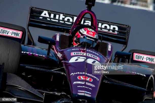 Jack Harvey drives the Honda IndyCar on the track during practice for the Firestone Grand Prix of Saint Petersburg IndyCar race on March 9 2018 in...