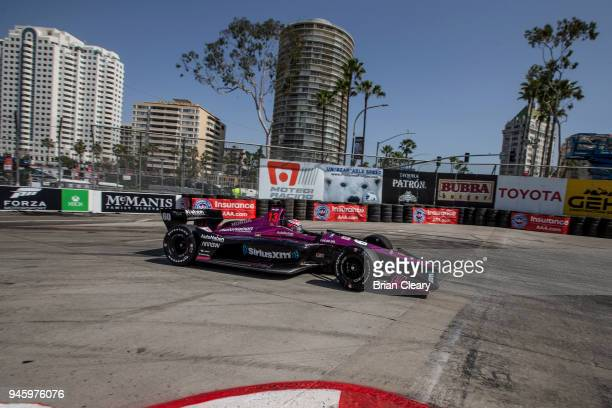 Jack Harvey drives the Honda IndyCar on the track during practice for the Toyota Grand Prix of Long Beach IndyCar race on April 13 2018 in Long Beach...