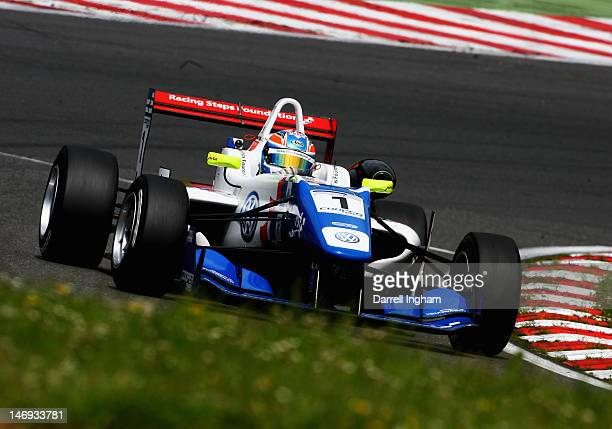 Jack Harvey of Great Britain drives the Carlin Dallara F312 Volkswagen during practice for the Cooper Tires British Formula 3 Championship race at...