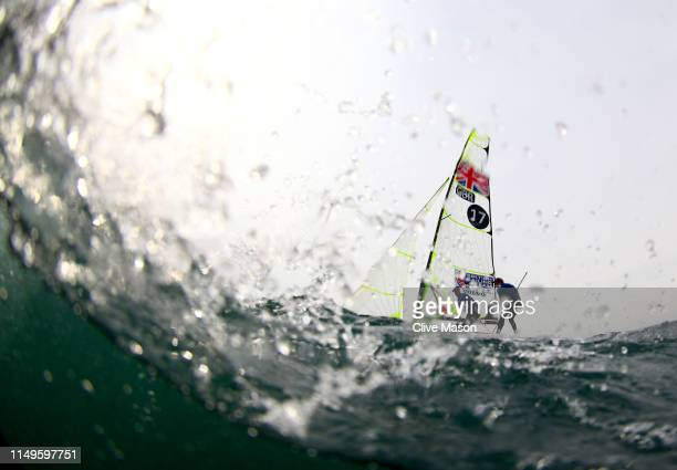 Jack Hawkins and Chris Thomas of Great Britain in action at the finish of a 49er class race on May 16 2019 in Weymouth England