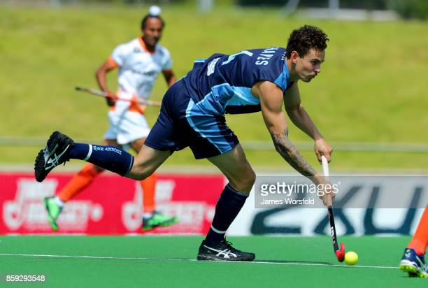 Jack Hayes takes control of the ball in the centre of the field during the men's 2017 Australian Hockey League bronze medal final between India...