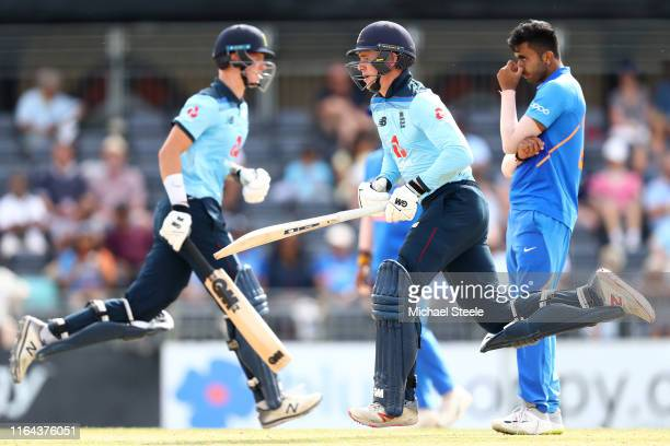 Jack Haynes and Ben Charlesworth of England pile on the runs during their second wicket partnership during the Under 19 TriSeries match between...