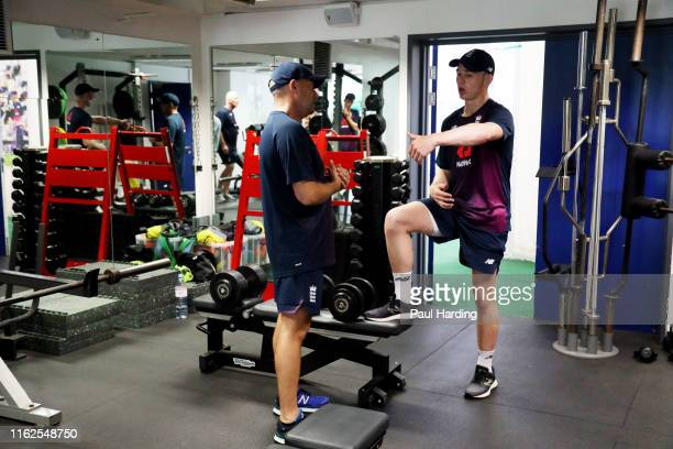 Jack Haynes during the England Under 19's Nets training session at National Cricket Performance Centre on July 17 2019 in Loughborough England