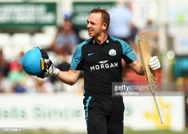Jack Haynes of Worcestershire celebrates after reaching a century during the Royal London Cup match between Essex and Worcestershire at Cloudfm...