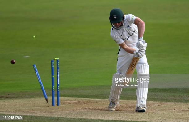 Jack Haynes of Worcestershire is bowled by Toby Roland-jones of Middlesex during the LV= Insurance County Championship match between Middlesex and...