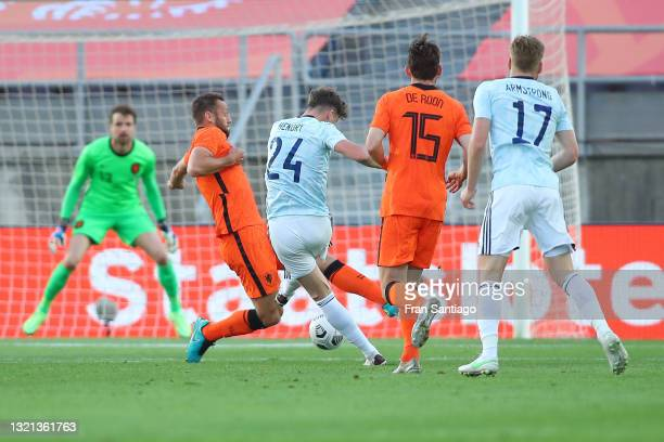 Jack Hendry of Scotland scores their side's first goal past Tim Krul of Netherlands during the international friendly match between Netherlands and...