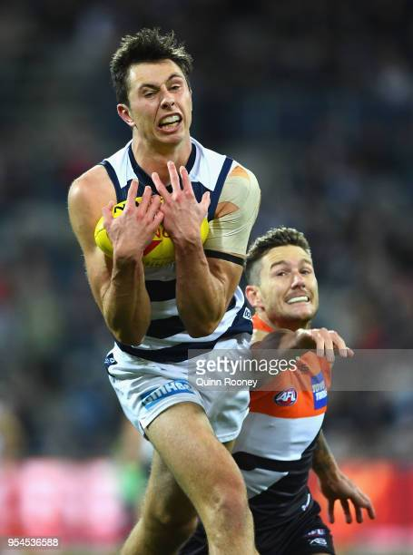 Jack Henry of the Cats marks during the round seven AFL match between the Geelong Cats and the Greater Western Sydney Giants at GMHBA Stadium on May...