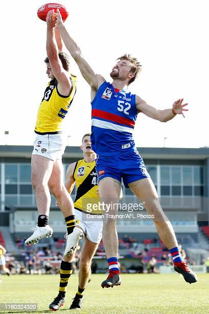 Jack Higgins of Richmond marks the ball during the round 14 VFL match between the Footscray Bulldogs and the Richmond Tigers at Whitten Oval on July...