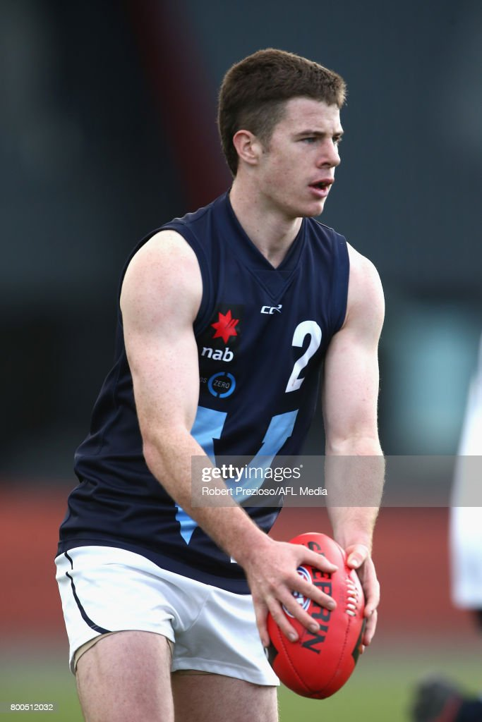Jack Higgins of Vic Metro runs during the U18 Championship match between Vic Metro and Vic Country at Punt Road Oval on June 24, 2017 in Melbourne, Australia.