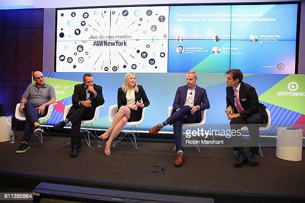 Jack Hildary Lawrence Kiey Kelly Hyland Nye Matt McNally and Dr Mehmet Oz speak onstage at The Double Entendre of Disruption Innovative Marketing in...