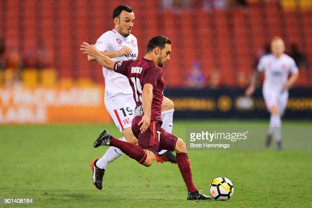 Jack Hingert of Brisbane controls the ball during the round 14 ALeague match between the Brisbane Roar and the Western Sydney Wanderers at Suncorp...