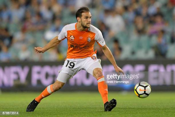 Jack Hingert of Brisbane controls the ball during the round eight ALeague match between Sydney FC and the Brisbane Roar at Allianz Stadium on...