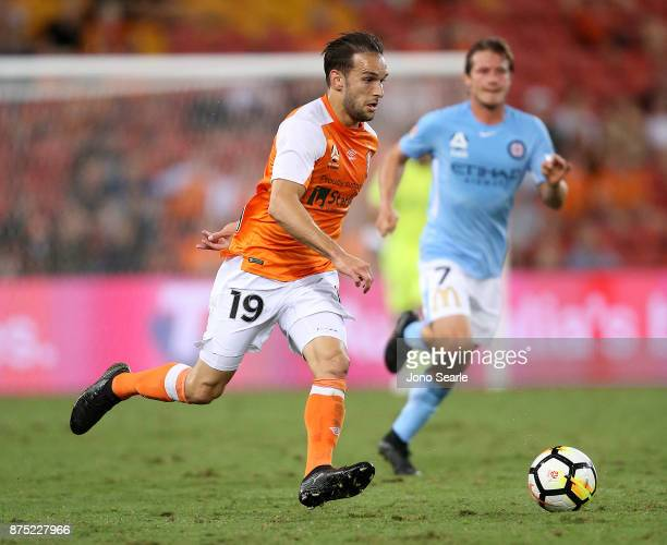 Jack Hingert of Brisbane Roar runs with the ball during the round seven ALeague match between Brisbane Roar and Melbourne City at Suncorp Stadium on...