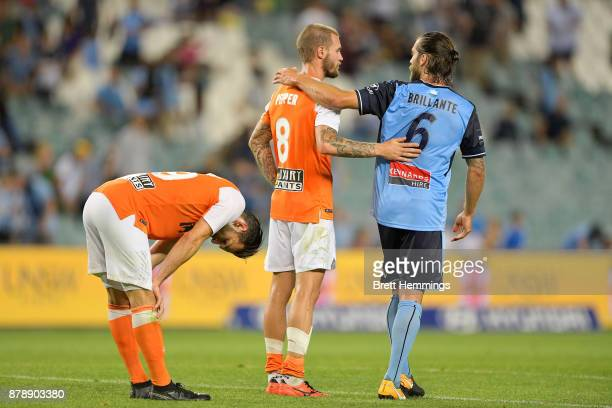 Jack Hingert of Brisbane shows his dejection after defeat during the round eight ALeague match between Sydney FC and the Brisbane Roar at Allianz...