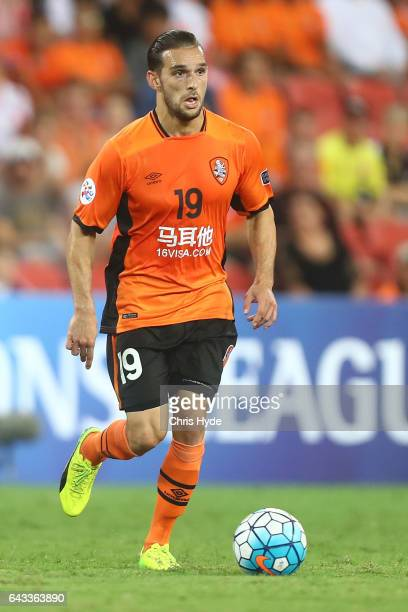 Jack Hingert of the Roar controls the ball during the AFC Champions League match between the Brisbane Roar and Muangthong United at Suncorp Stadium...
