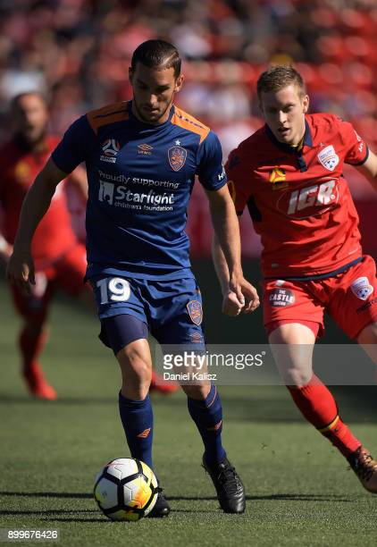 Jack Hingert of the Roar controls the ball during the round 13 ALeague match between Adelaide United and Brisbane Roar at Coopers Stadium on December...