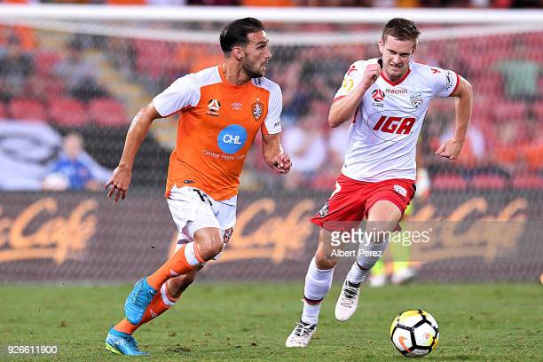 Jack Hingert of the Roar in action during the round 22 ALeague match between the Brisbane Roar and Adelaide United at Suncorp Stadium on March 3 2018...