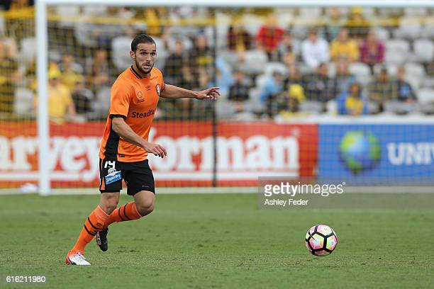 Jack Hingert of the Roar in action during the round three ALeague match between the Central Coast Mariners and the Brisbane Roar at Central Coast...