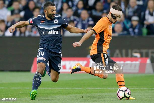 Jack Hingert of the Roar kicks the ball during the ALeague Semi Final match between Melbourne Victory and the Brisbane Roar at AAMI Park on April 30...
