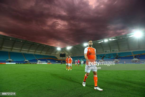 Jack Hingert of the Roar leaves the field after a draw during the round 10 ALeague match between the Brisbane Roar and the Wellington Phoenix at Cbus...
