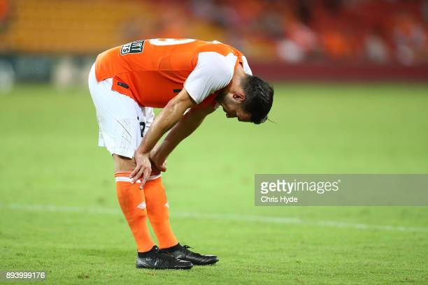 Jack Hingert of the Roar reacts after losing the round 11 ALeague match between the Brisbane Roar and the Melbourne Victory at Suncorp Stadium on...