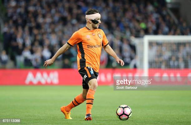 Jack Hingert of the Roar runs with the ball during the ALeague Semi Final match between Melbourne Victory and the Brisbane Roar at AAMI Park on April...