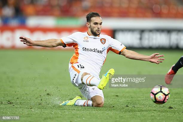 Jack Hingert of the Roar slides as he passes during the round eight ALeague match between the Western Sydney Wanderers and the Brisbane Roar at...