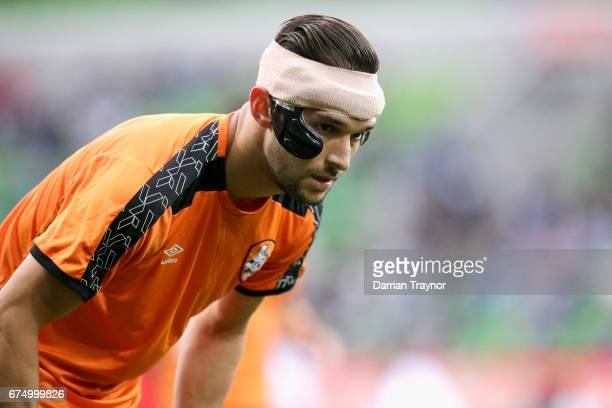 Jack Hingert of the Roar warms up before the ALeague Semi Final match between Melbourne Victory and the Brisbane Roar at AAMI Park on April 30 2017...