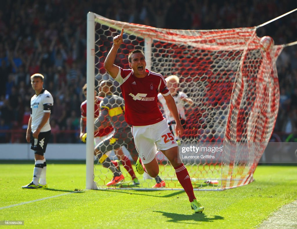 Jack Hobbs of Nottingham Forest celebrates scoring the opening goal during the Sky Bet Championship match between Nottingham Forest and Derby County at City Ground on September 28, 2013 in Nottingham, England,
