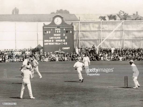 Jack Hobbs of Surrey CCC plays Jimmy Bridges to leg to complete his 126th century at Taunton, equalling the record of Dr WG Grace, during the County...