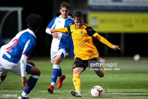 Jack Hodnett of Wolverhampton Wanderers U18 scores a goal to make it 2-2 during the Under 18s Premier League match between Blackburn Rovers U18 and...