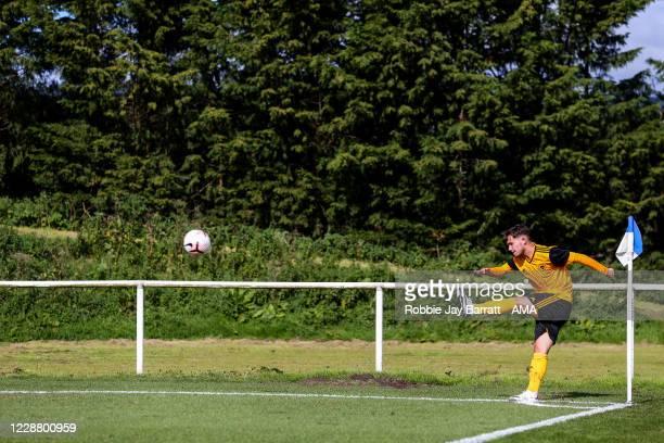 Jack Hodnett of Wolverhampton Wanderers U18 takes a corner during the Under 18s Premier League match between Blackburn Rovers U18 and Wolverhampton...
