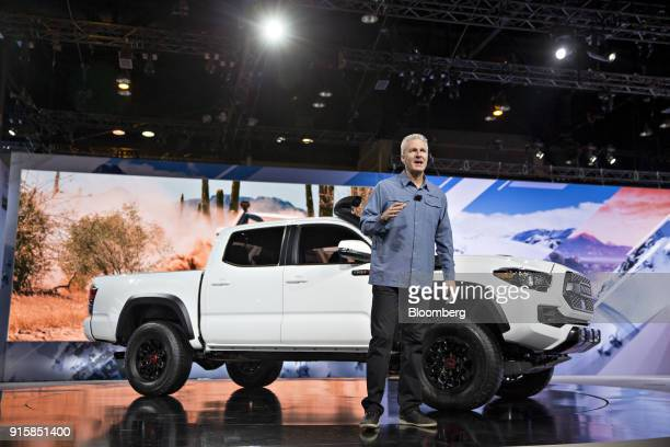 Jack Hollis group vice president and general manager of Toyota Motor Sales USA Inc speaks in front of a 2019 Toyota Motor Corp Tacoma TRD Pro pickup...