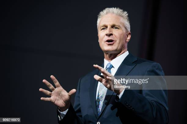 Jack Hollis group vice president and general manager of Toyota Motor Sales USA Inc speaks during the 2018 New York International Auto Show in New...